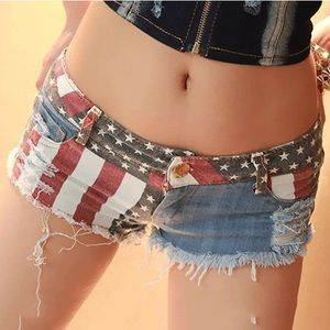 American Flag Shorty Shorts US Small
